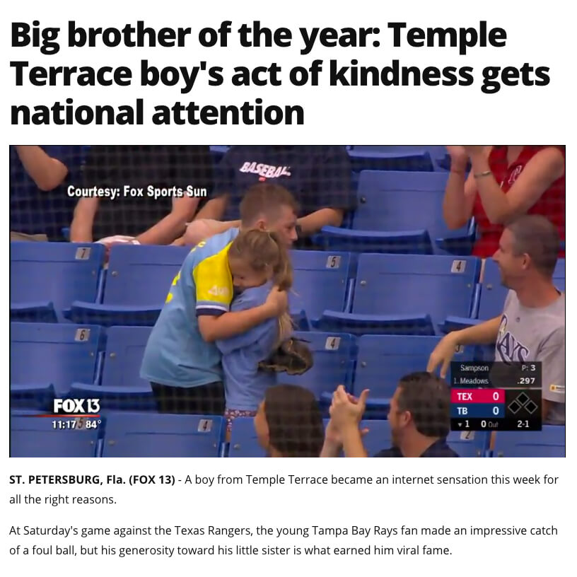 Boy Gives Foul Ball to Little Sister