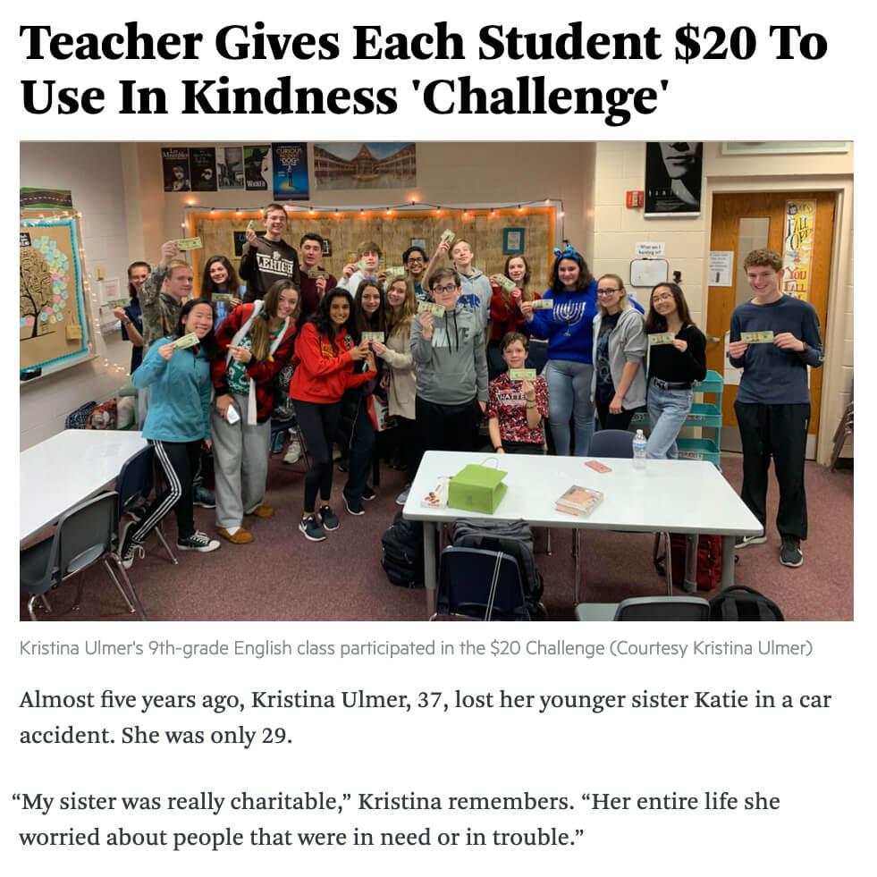 20 dollar teacher kindness challenge