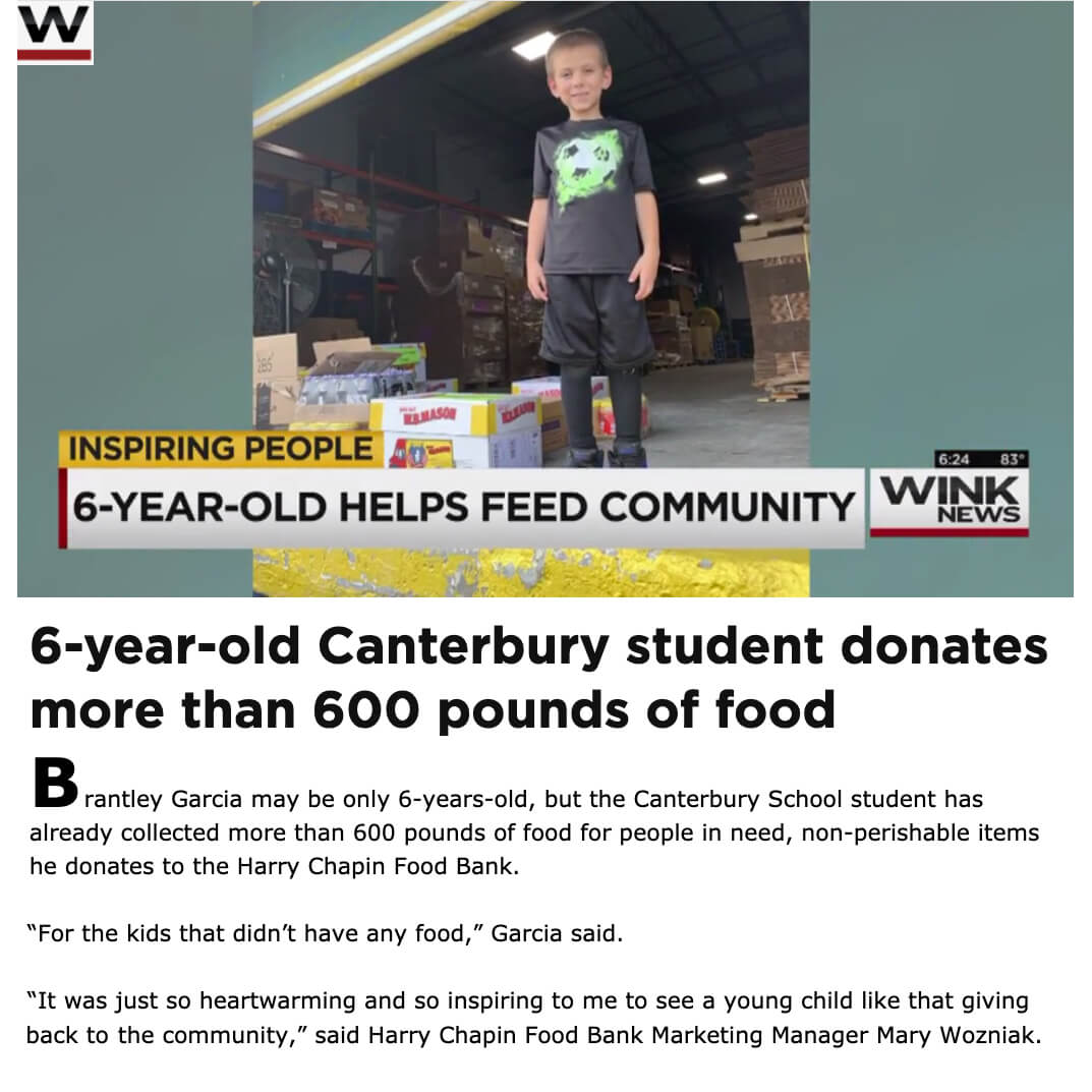 Six year old donates 600 lbs of food