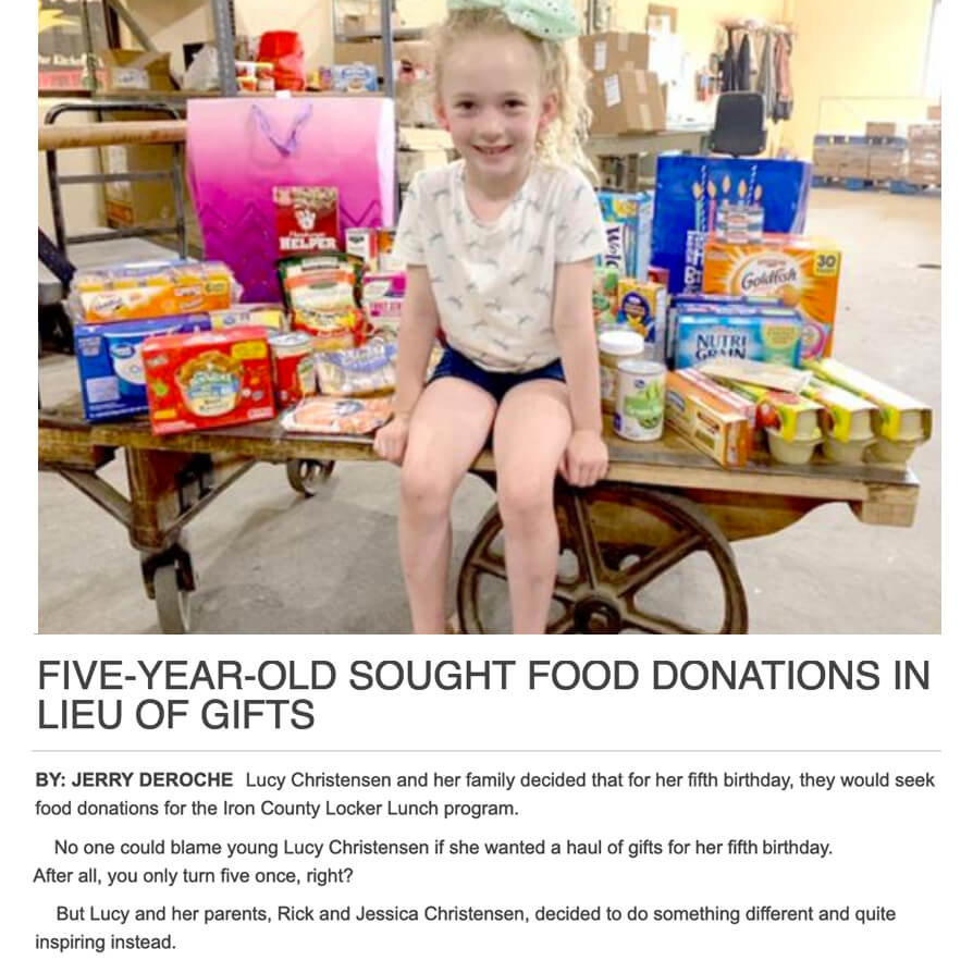 Five Year Old Sought Food Donations in Lieu of Gifts