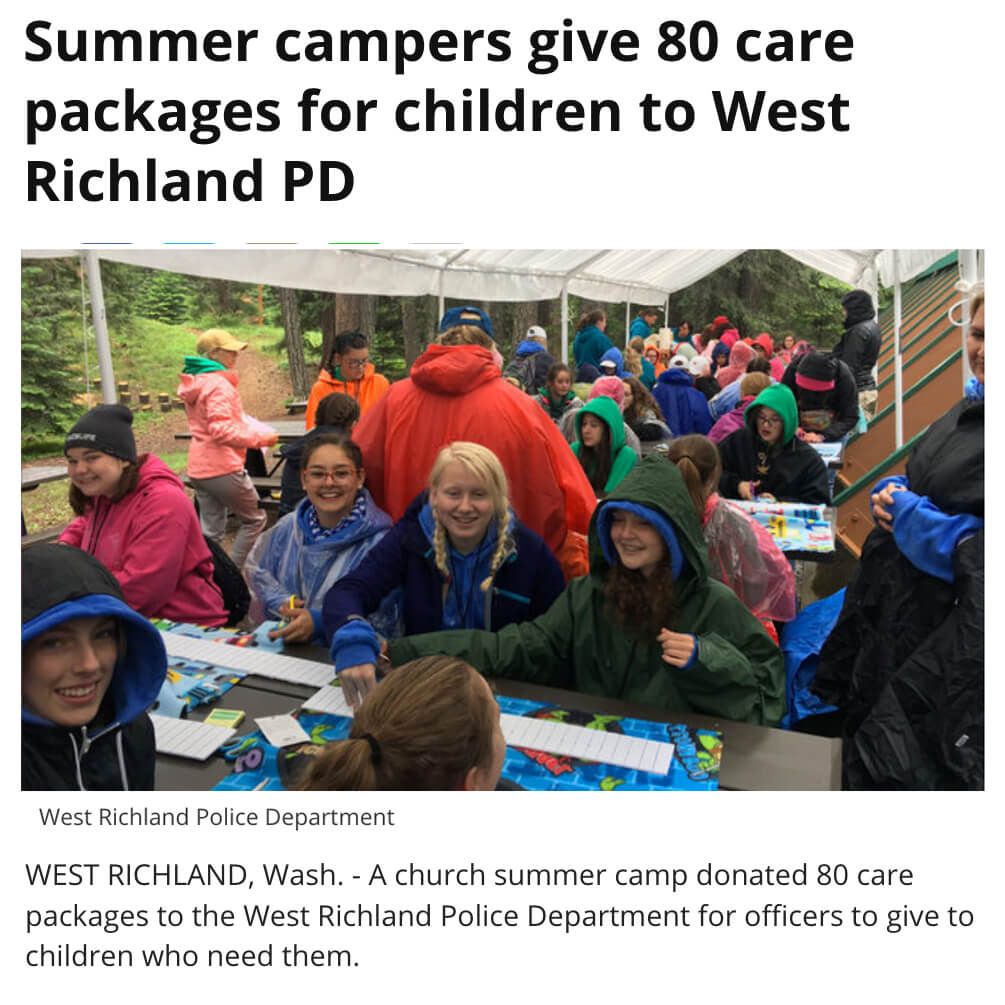 Campers Make Care Packages for Police Dept to Distribute