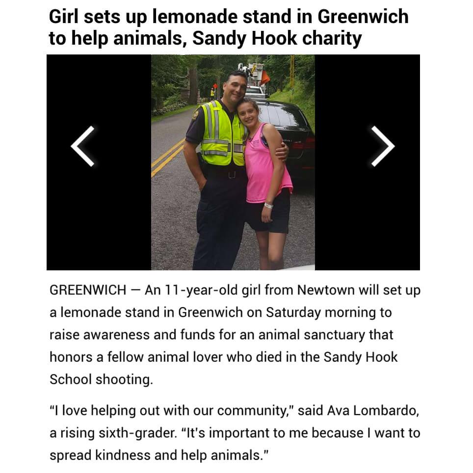 Lemonade Stand for Animals Honoring Sandy Hook