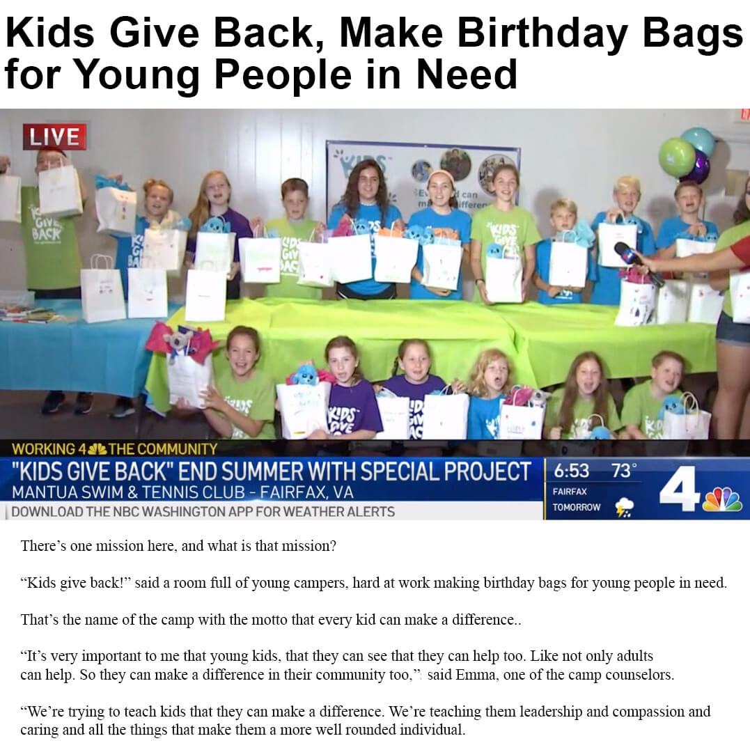Kids Give Back Birthday Bags
