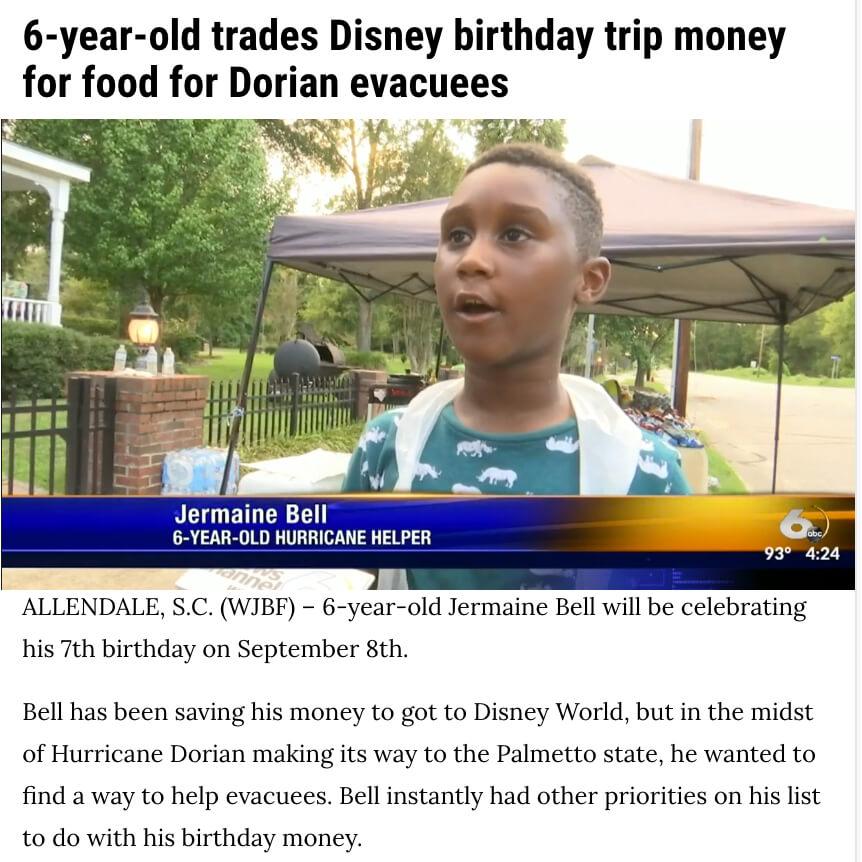 Disney Money for Dorian Evacuees