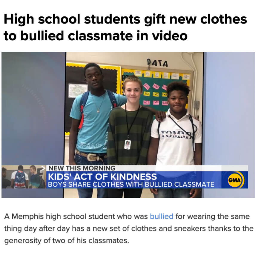 Bullied boy gets new clothes