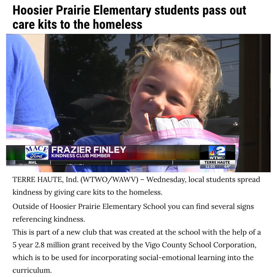 Hoosier Prairie Homeless Care Kits
