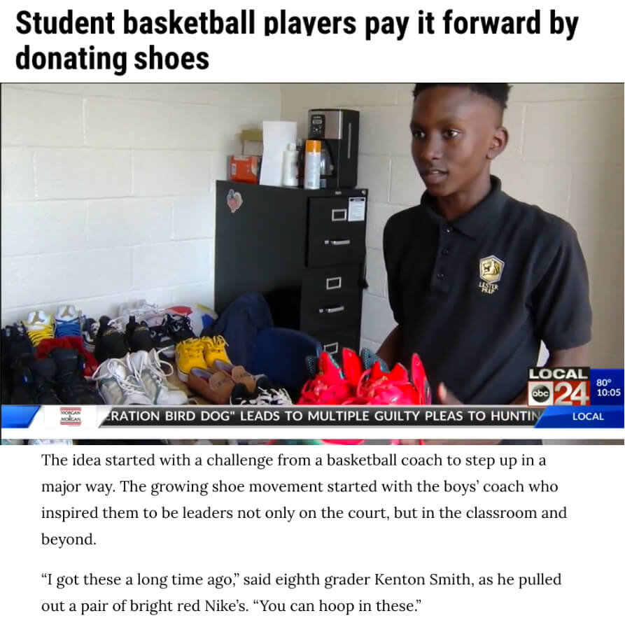 Basketball Players Donate Shoes