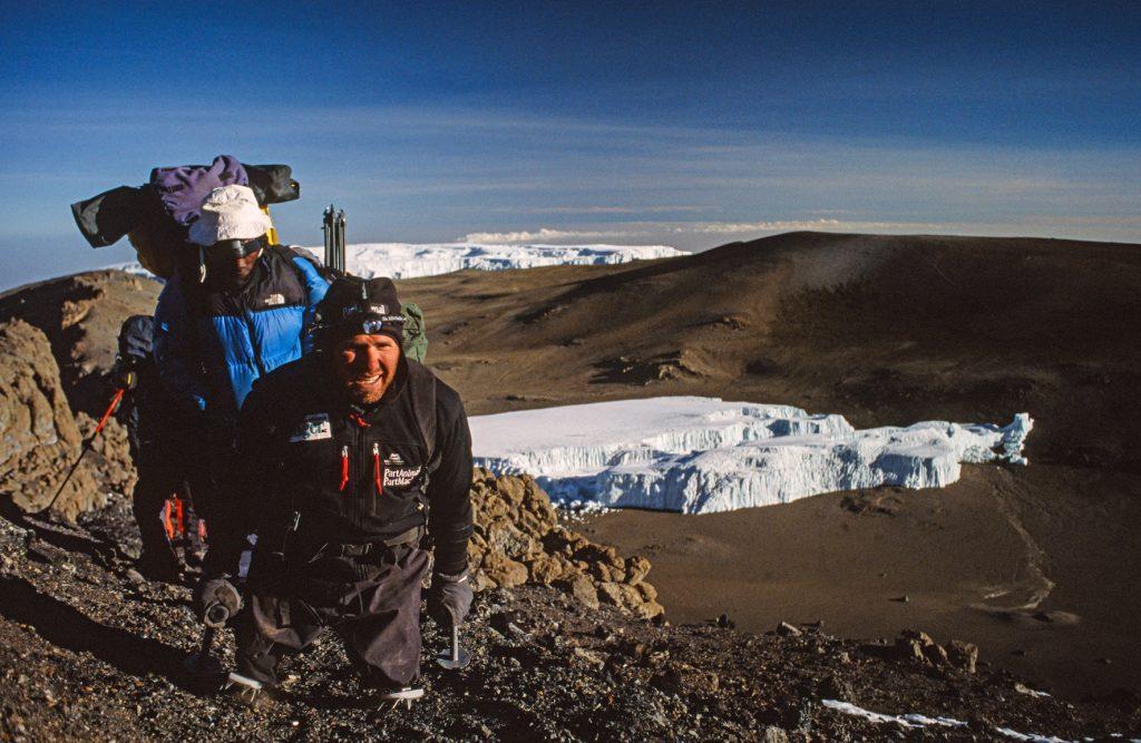Warren Macdonald approaches the summit of Mt Kilimanjaro