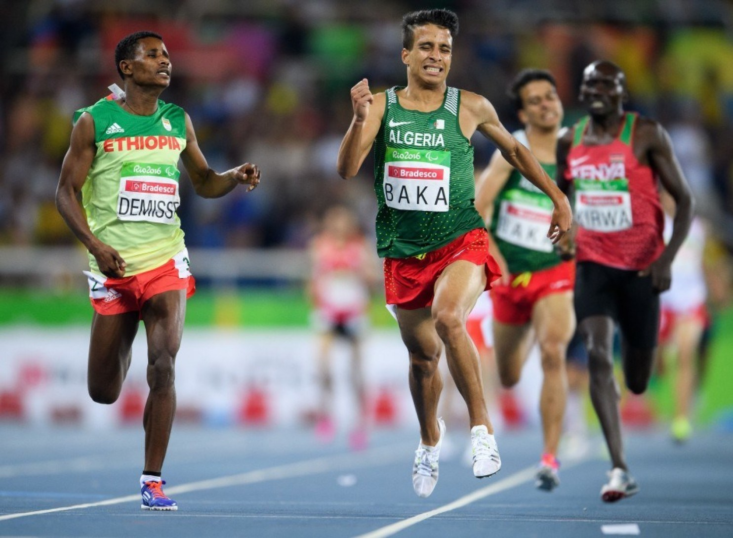 Algeria's Abdellatif Baka narrowly wins the gold ahead of Ethiopia's Tamiru Demisse in the men's 1,500-meter T13 final.