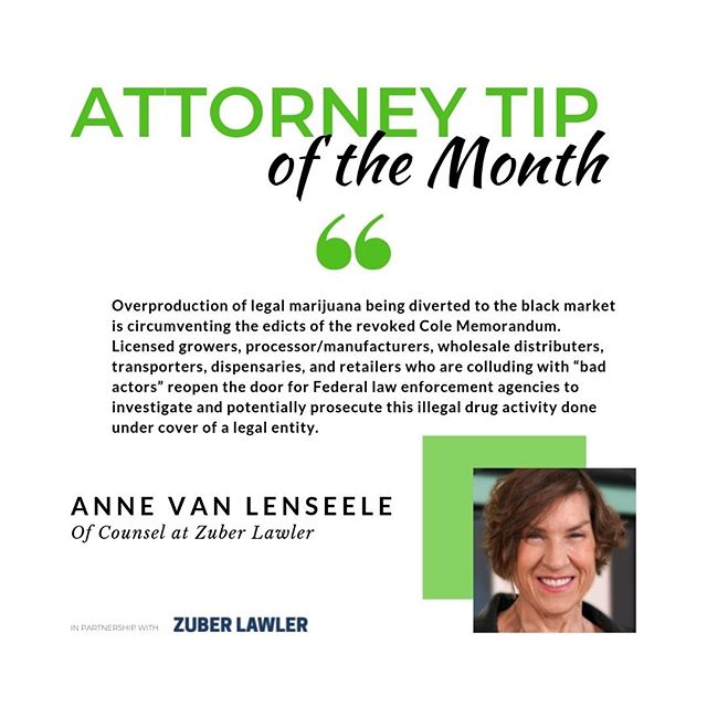 Attorney Tip of the Month series!  Twice a month, we share valuable cannabis-related tips from our attorney partners at Zuber Lawler. The fourth comes from Anne van Leynseele on the topic of legal vs illegal drug activity.  Anne van Leynseele advises multi-state and multi-national cannabis clients on governance, compliance, licensing, acquisition, asset management, import/export matters, and is a leading expert on hemp-derived CBD.  She can be reached at avanleynseele@zuberlawler.com. *This is not legal advice and there is no attorney-client relationship, nor privilege.  #zuberlawler