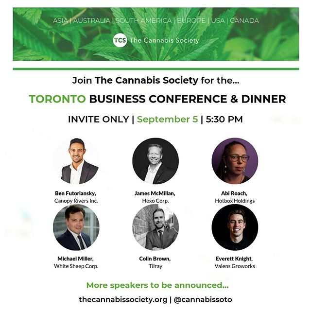 Hey #cannapreneurs!  Find out who will be speaking at our #Toronto Investor Conference & Dinner on September 5th!  Tickets are available via the link https://buff.ly/2Zzqrn8  #CannabisCommunity