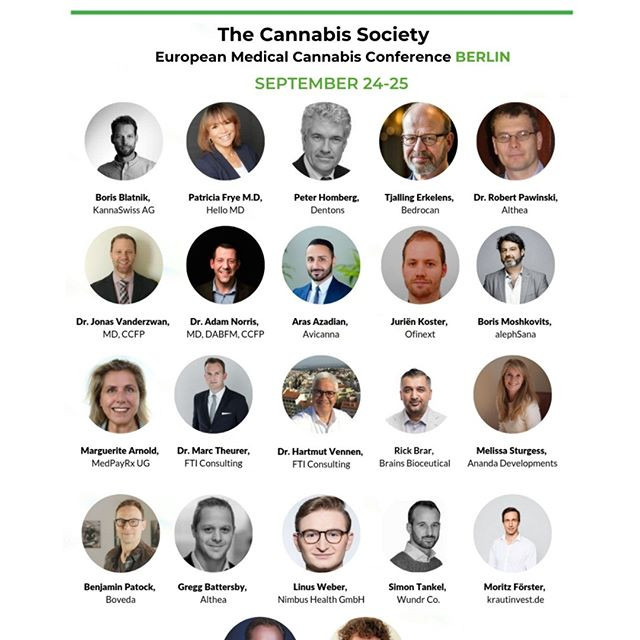 Check out the speakers taking part in our 2-days European Medical Cannabis Conference, September 24-25th in #Berlin!  Come hear from researchers, lawmakers, regulatory experts, economists, and industry experts discussing the current state of medical cannabis science, cannabis application, laws and market trends within the European Union and abroad.  Tickets: https://lnkd.in/gQKYTai  #speakers #researchers #experts #cannabis #science #medicalcannabis #cannabisconference