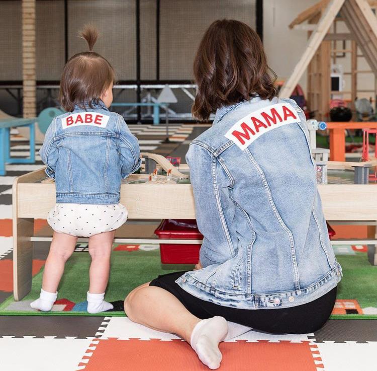 Mama Denim Jacket / Ingrid & Isabel Maternity • @whatlolalikes