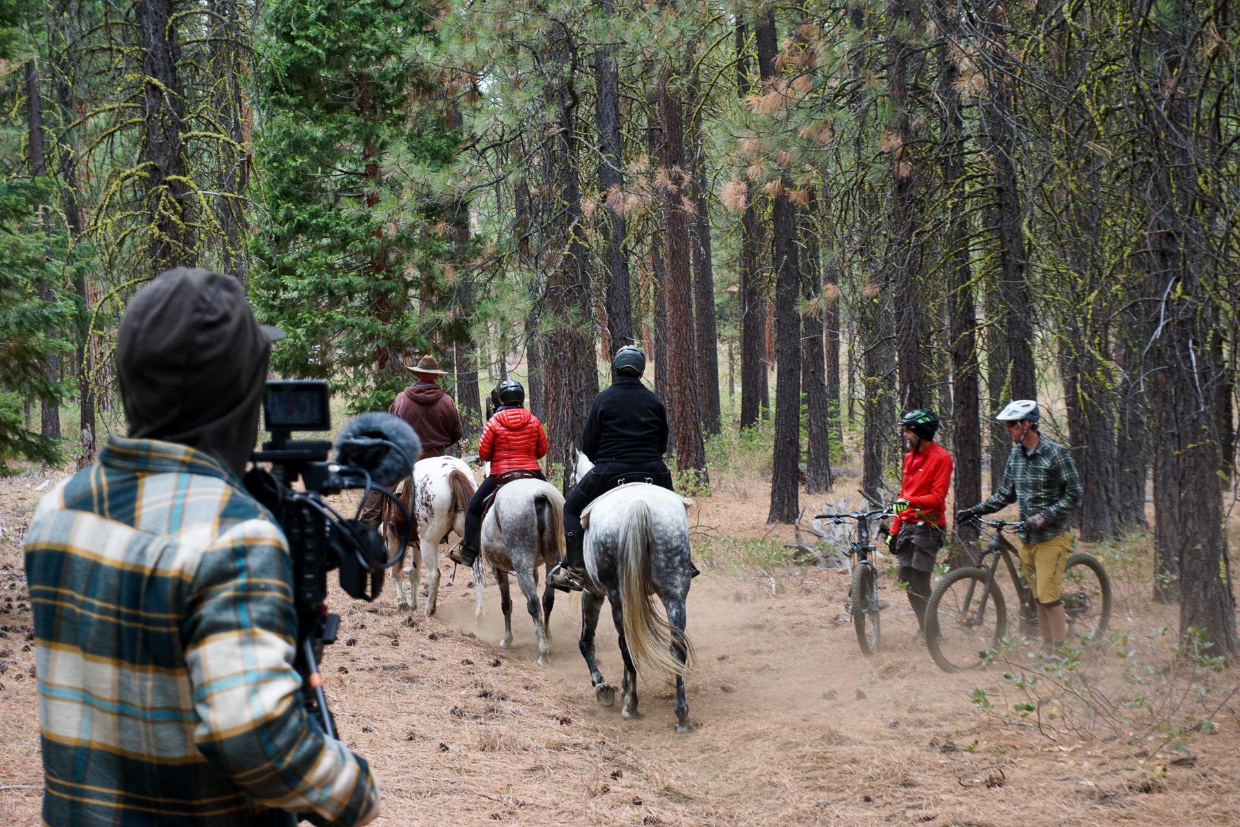 Local video production company Wahoo Films capturing trail etiquette between equestrians and mountain bikers.