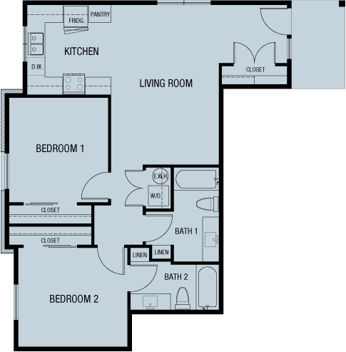 Unit A 964 sf — Double Creek Independent Living — 4 units to choose from — Austin, Round Rock, Pflugerville, Texas