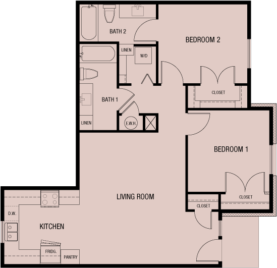 Unit B 995 sf — Double Creek Independent Living — 4 units to choose from — Austin, Round Rock, Pflugerville, Texas