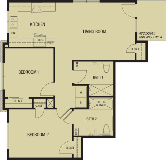 Unit C 951 sf — Double Creek Independent Living — 4 units to choose from — Austin, Round Rock, Pflugerville, Texas