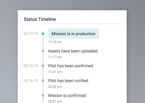 Status Timeline - Get a birds-eye view on your order. Quickly see when your flight has been confirmed, when the flight was completed, and when your assets are ready.