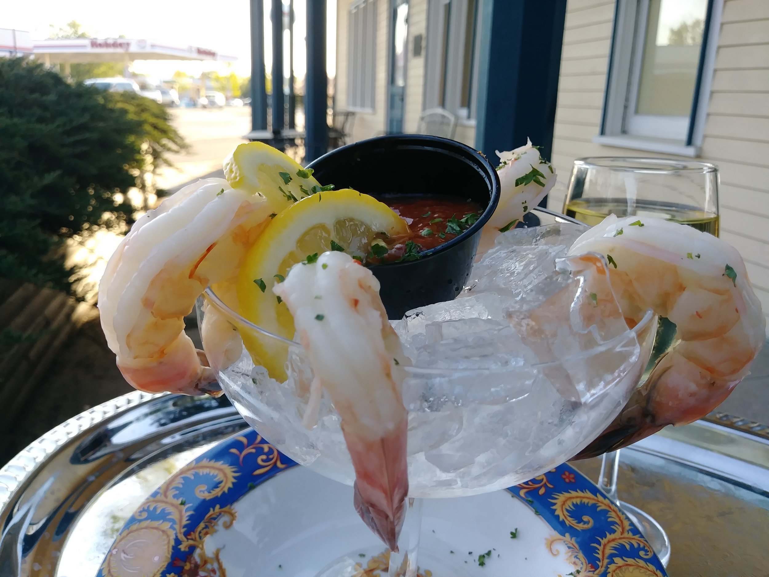 shrimp cocktail - Four fresh jumbo shrimp, chilled and served with The Thayer's homemade cocktail sauce $9.99