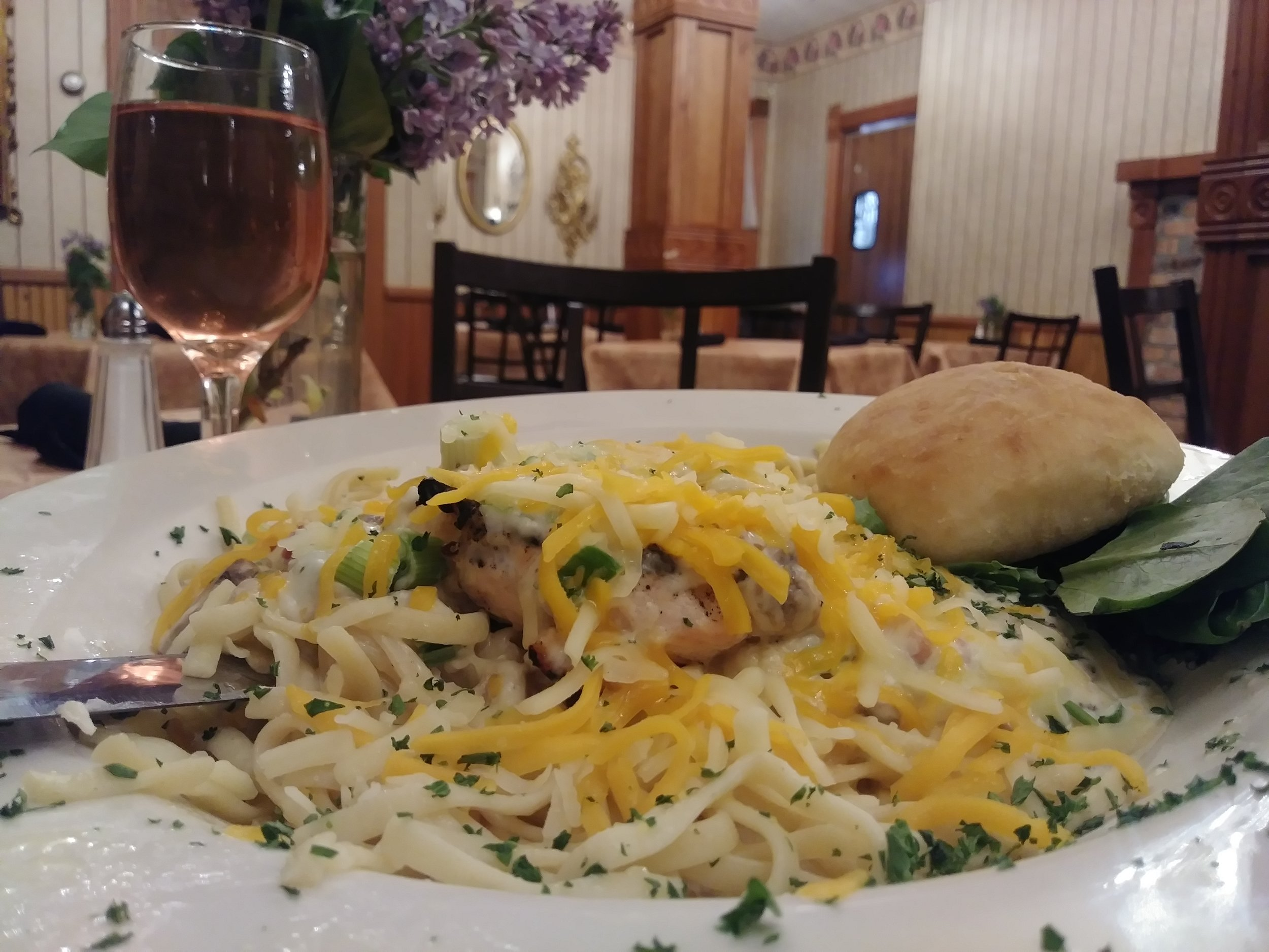 Boursin chicken pasta - A 6 ounce broiled chicken breast served over linguini pasta, topped with Boursin Cheese, bacon, mushrooms, & chives. All covered with Monterey Jack Cheese$14.99