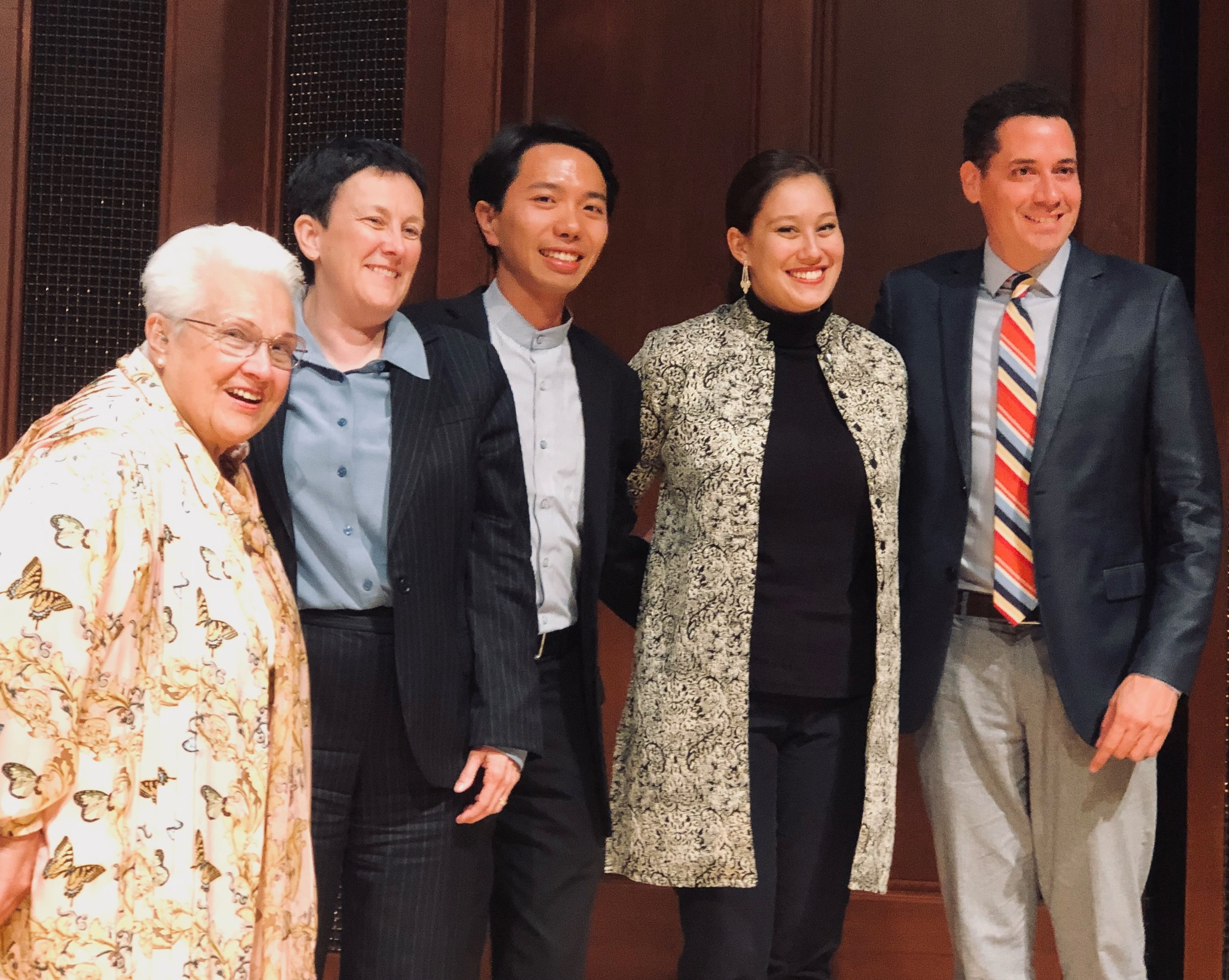 Pictured with Marilyn Horne, Jennifer Higdon, Chien-Lin Lu and Michael Heaston after winning the 2019 Marilyn Horne Song Competition.  Photo Credit: Bob Weinman 2019.