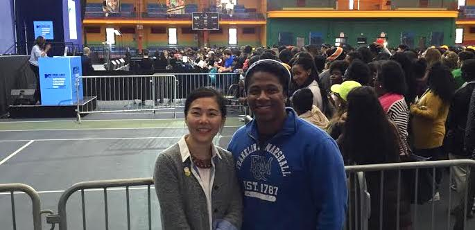 With Andre Douglas at College Signing Day at Harlem Armory on April 26, 2016, NYC (This picture was taken while our First Lady was giving a speech in the back)