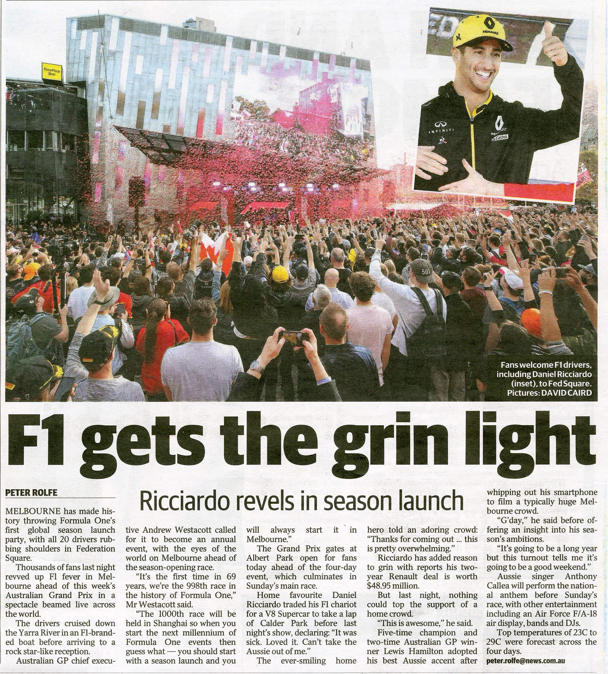 Formula One. Herald Sun. 14-3-2019