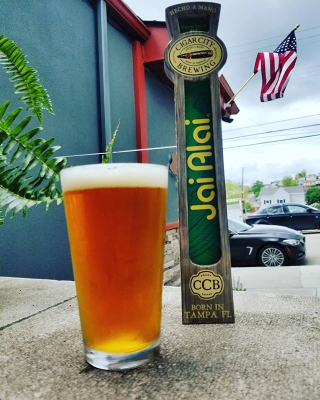 Praise the beer gods.... @cigarcitybrewing is finally in the 'burgh and Mike's favorite beer of all time is now on tap - Jai Alai IPA