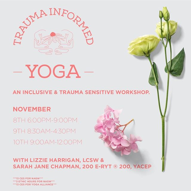 @lizzie_harrigan and I are excited to offer another round of Trauma Informed Yoga: An Inclusive, Trauma-Sensitive Approach To Healing with Yoga  This training is for anyone interested in the intersection of yoga, trauma, and healing: trauma survivors, yoga students, therapists, yoga teachers, counselors, social workers, teachers, healthcare practitioners, yoga studio owners, and more. The training will offer you (and those you serve) practical techniques to self-regulate, relieve the symptoms of stress and trauma exposure, and increase peace and well-being. The workshop will include traditional learning and experiential learning. The physical practice of yoga will be available for those who choose to participate, but is not required. You can receive 13 CEs through Yoga Alliance & NASW TN including 3 hours of ETHICS!  Look forward to learning about:  Neuroscience of Trauma and Yoga Principles of Trauma-Informed Care  How to create and Trauma-Informed Yoga Practice for self or others Mindfulness techniques for self-regulation How to create a Trauma-Informed yoga class 2 Sequences of Trauma-Informed Yoga Appropriate touch and language for trauma-informed yoga Inclusion, Diversity, and Accommodations in your Yoga Practice How to use Yoga in your therapy or helping practice And more... The Training will be at the Nashville Recovery Center in West Nashville. The cost is $275 if paid in full by October 8th and $300 if paid in full by the training date. $100 reserves your spot. This training is filling up quickly. We'll be offering another training in 2020 at a later date if this one doesn't work for you. Email me Sjaneyoga@gmail.com to register or if you have questions. 👍🏻