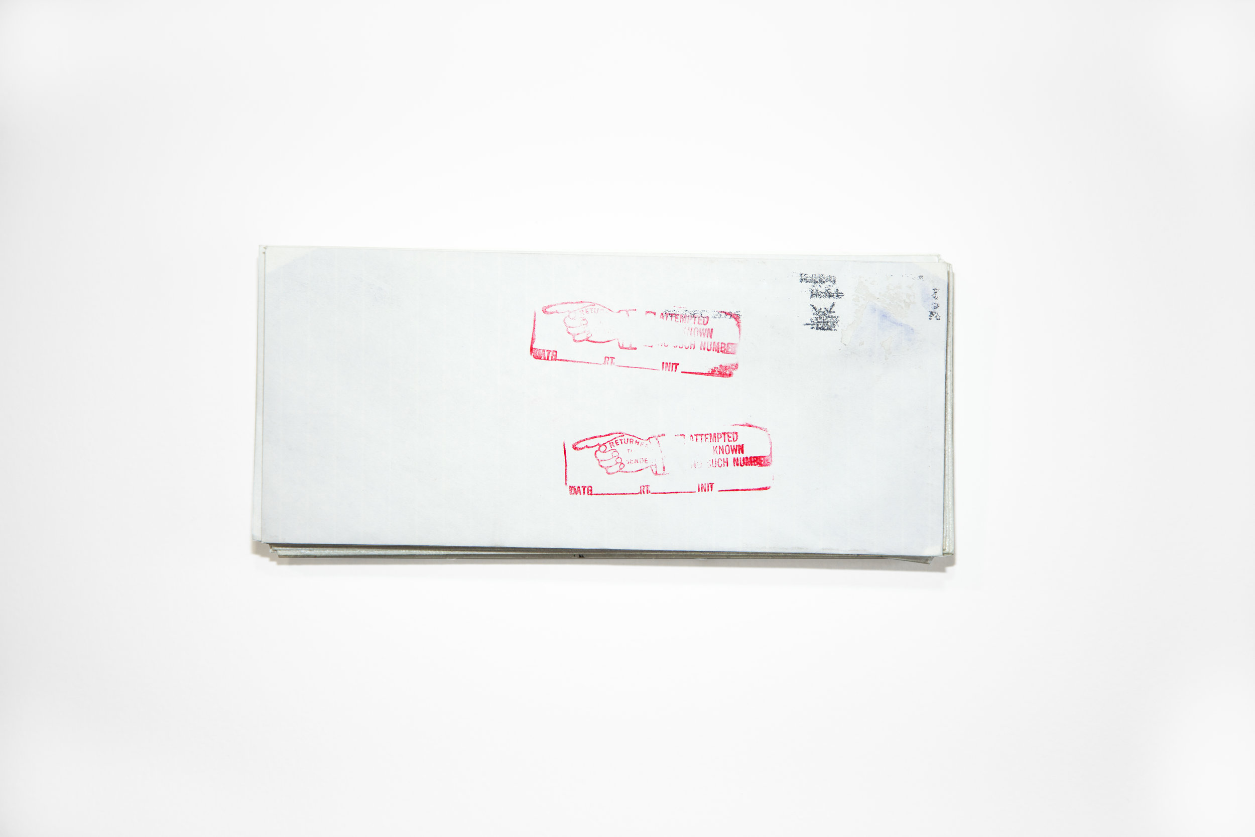 Death By 1000 Cuts , 2015, Envelopes, 4.5 x 9.5 x 1.5 in