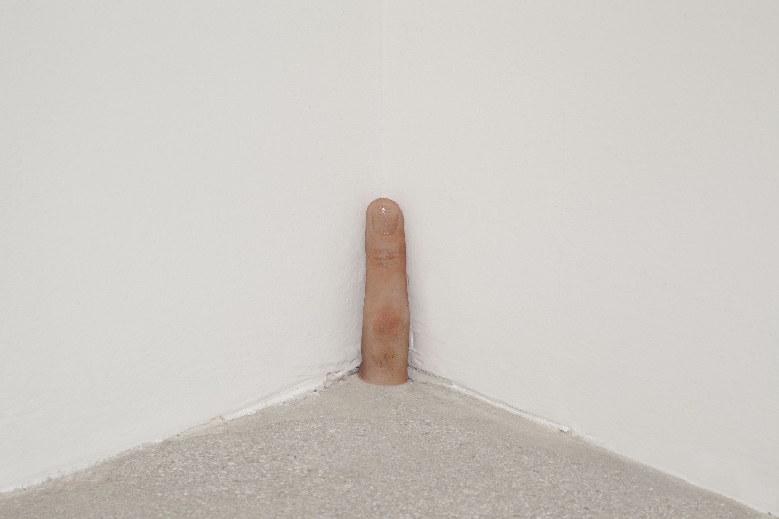 Shouting yelling pointing not listening ok,  2015, Pigmented Silicone, Nail polish, 3.5 x 1 in