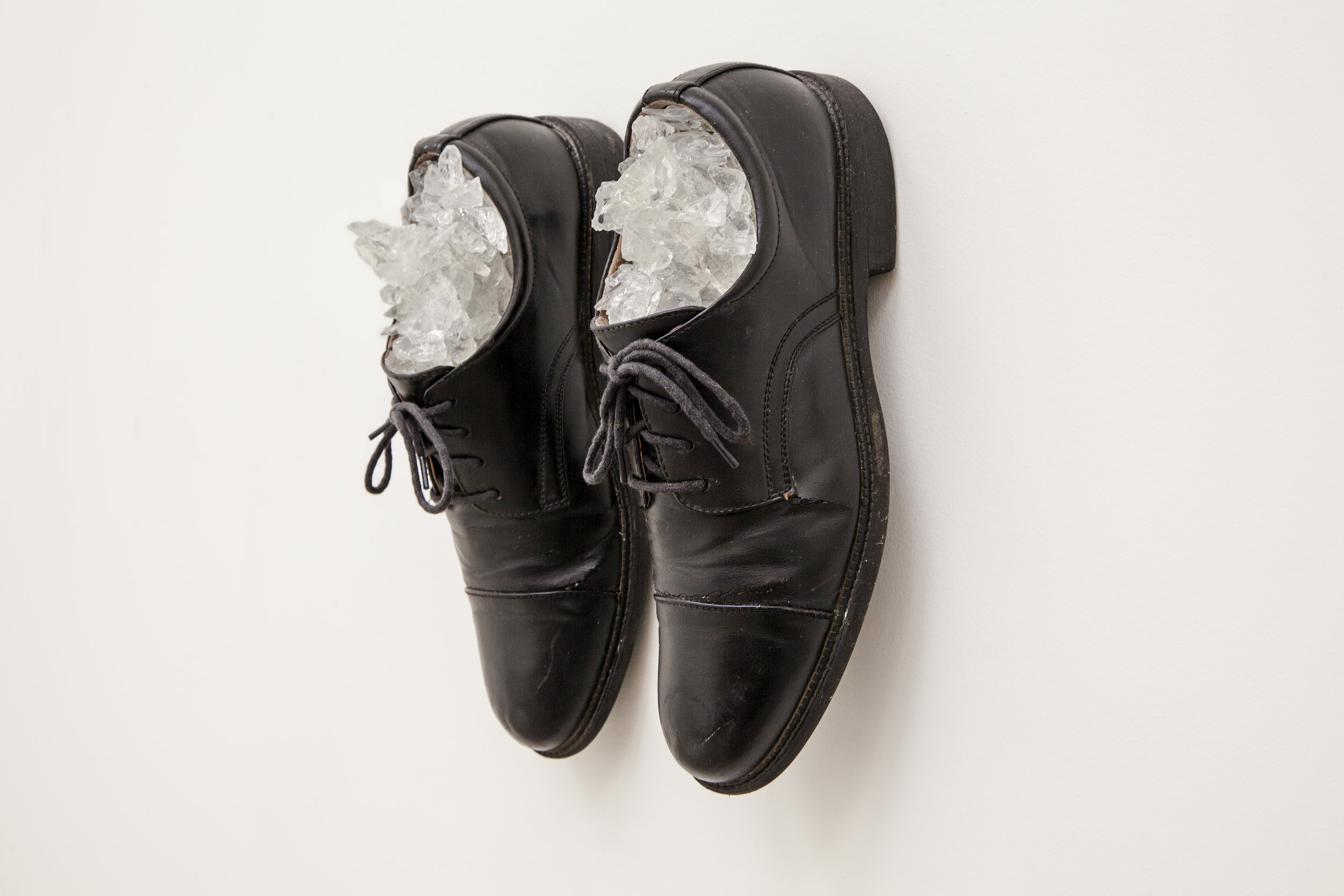 For Monty For Python , 2015, Oxford Shoes, Broken glass, 11 x 9 x 4 in