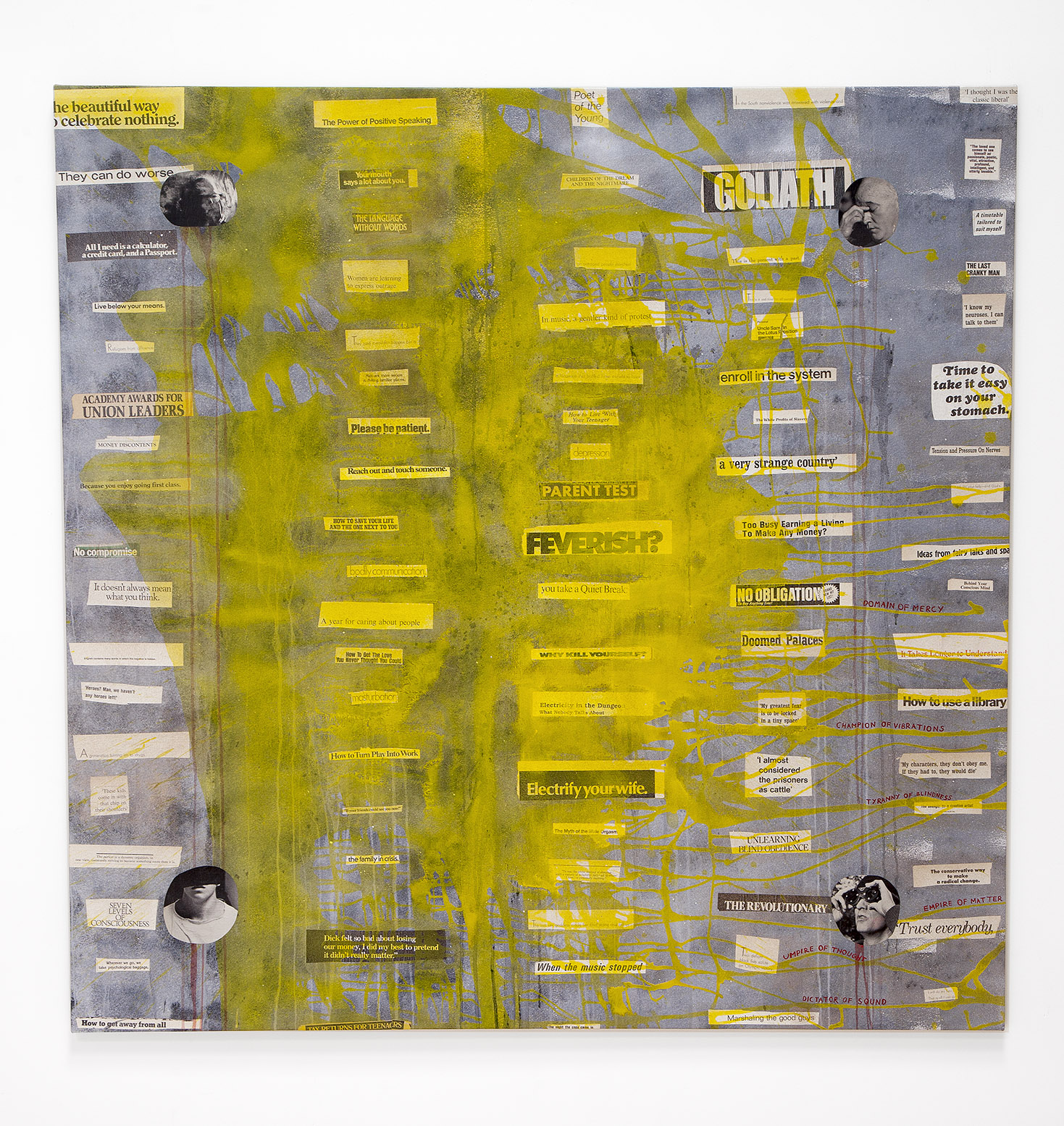 a very strange country , 2018, acrylic and inkjet prints on canvas, 64 x 64 in