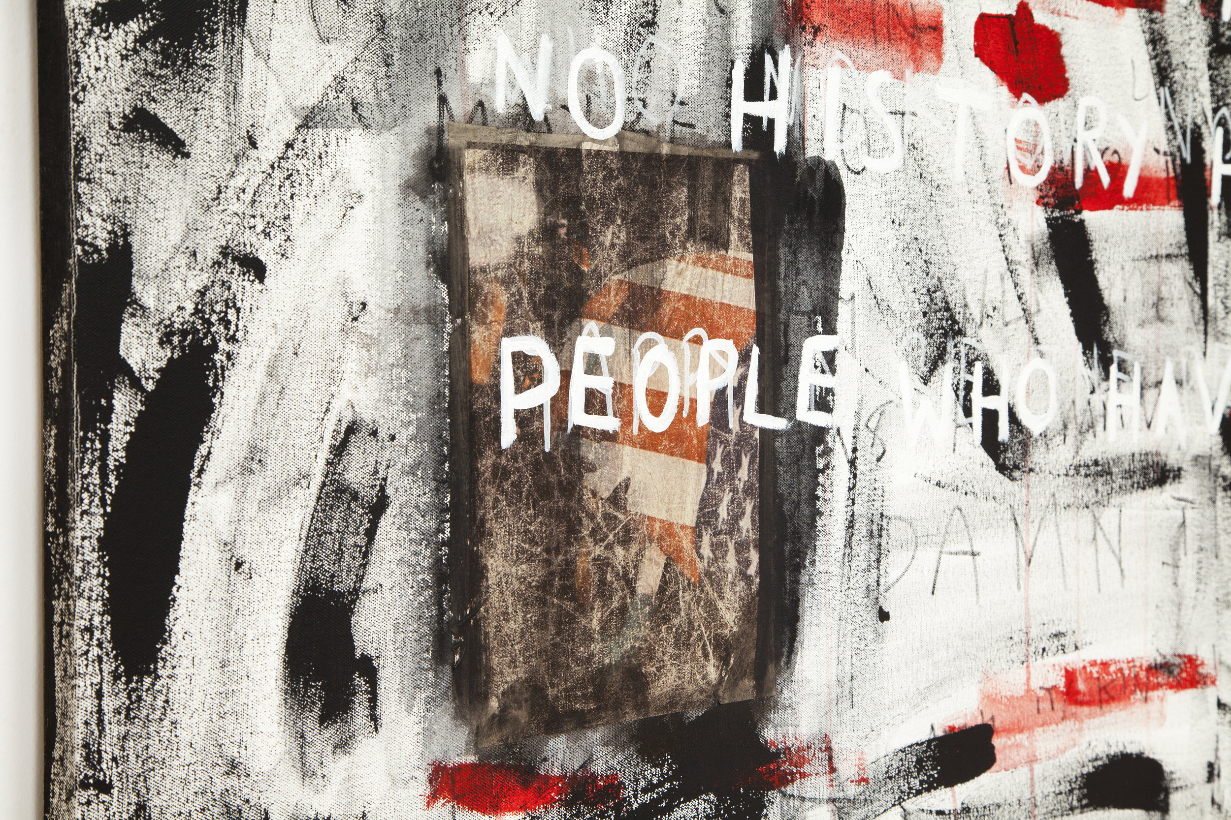 happy are the people who have no history too  (detail), 2018, acrylic and inkjet prints on canvas, 58 x 64 in