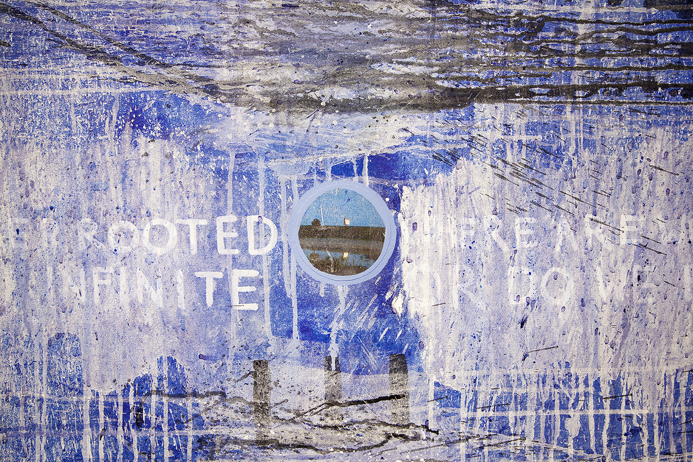 where are borders rooted where are we are infinite or do we end at the sea  (detail), 2018, acrylic and inkjet prints on canvas, 64 x 64 in