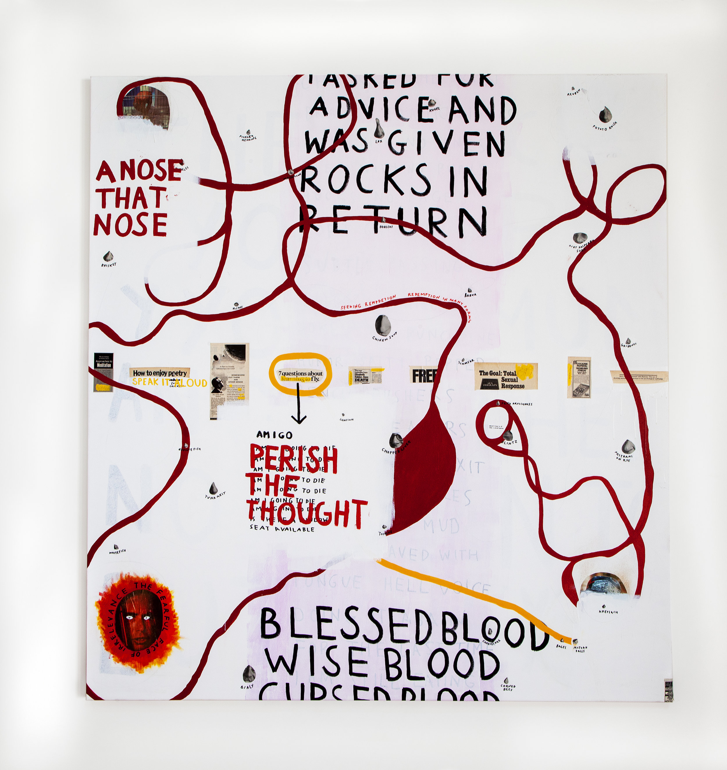 Blessed Wise Cursed , 2018, acrylic, spray paint, collage on canvas, 72 x 84 in
