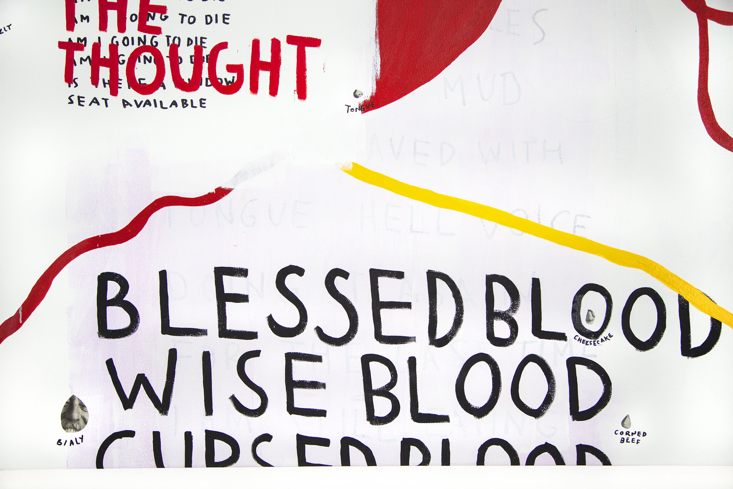 Blessed Wise Cursed  (detail), 2018, acrylic, spray paint, collage on canvas, 72 x 84 in
