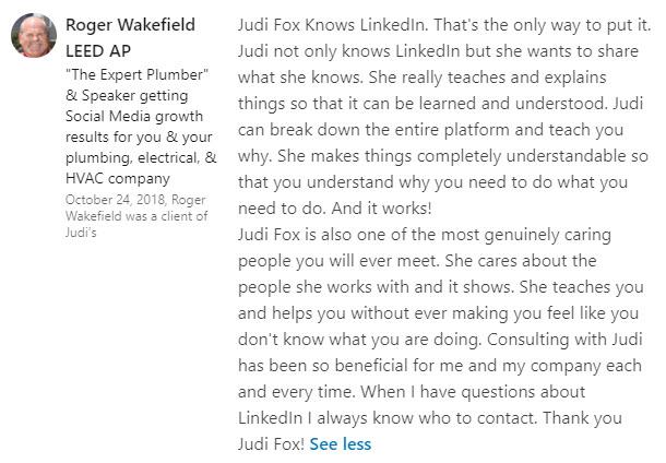 Roger Wakefield Plumber Social media Judi Fox and Michaela Alexis Masterclass