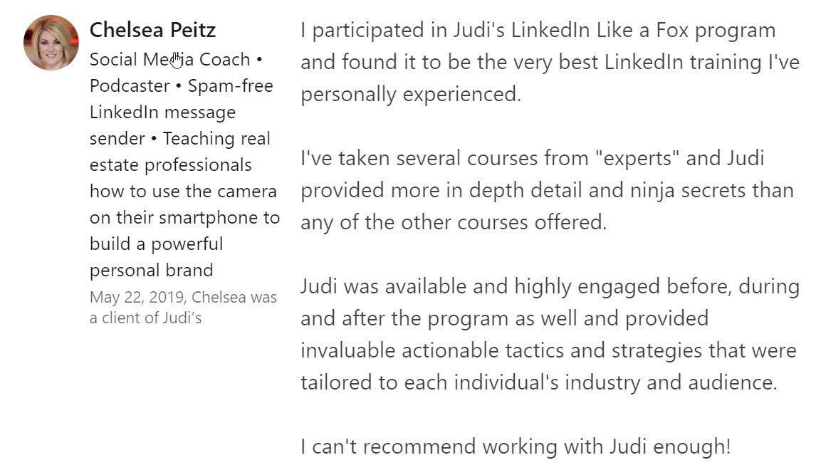 Chelsea Peitz LinkedIn Judi Fox LinkedIn Business Accelerator The Voice of Social Sales Podcast Recommendation on LinkedIn.jpg