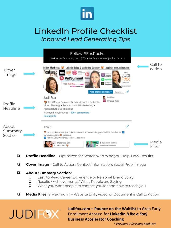 Judi Fox LinkedIn Business Accelerator Marketing and Sales Coaching - LinkedIn Profile Checklist for Entrepeneurs and inbound leads.jpg