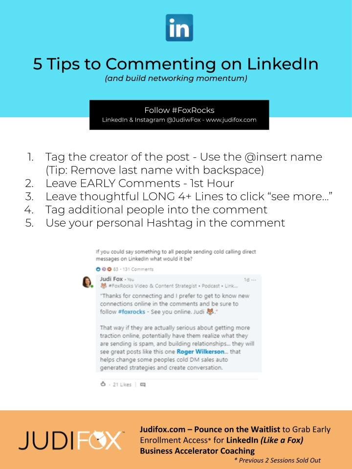 Judi Fox LinkedIn Business Accelerator Marketing and Sales Coaching 5 Tips to Commenting on LinkedIn.jpg