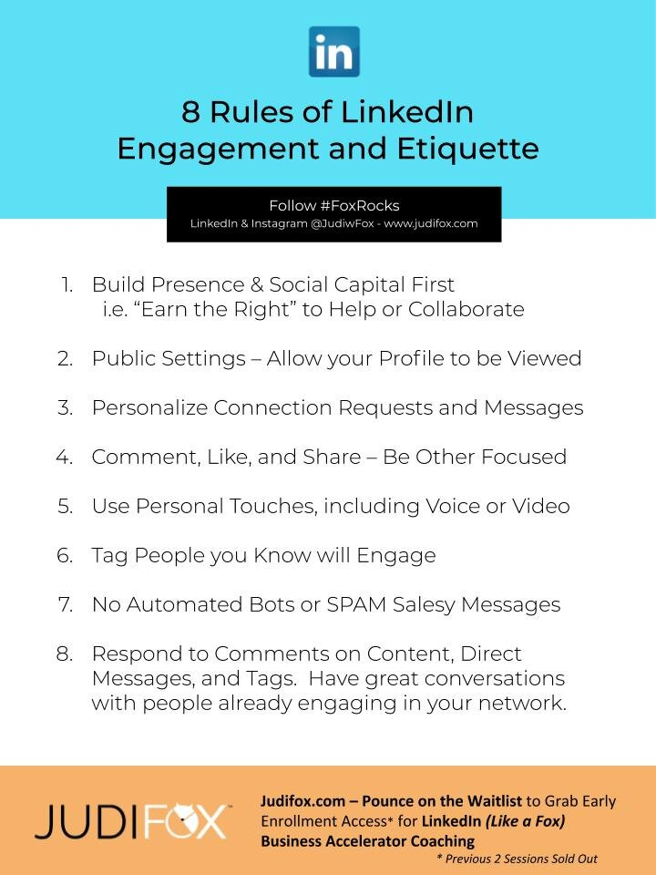 Judi Fox LinkedIn Business Accelerator Marketing and Sales Coaching 8 Rules of LinkedIn Engagement and Etiquette2.jpg