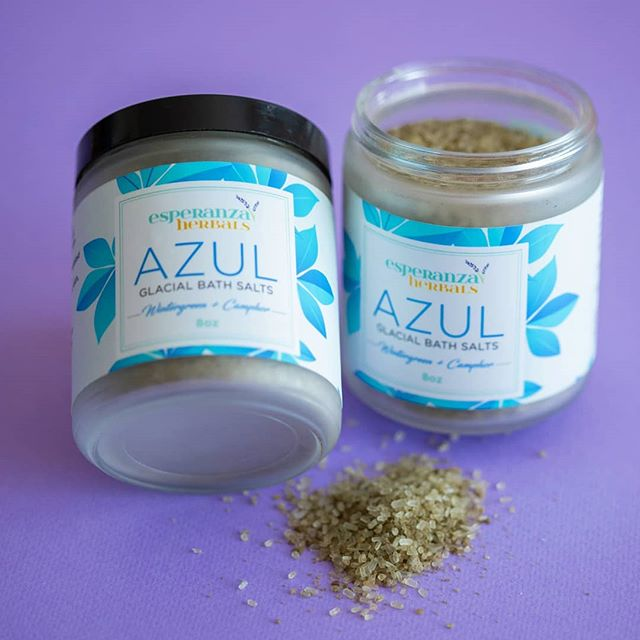 """Flu season got you feeling sore and achey? Take a hot bath using our """"Azul"""" Glacial Bath Salts! . 💧 Formulated with herbal extracts of camphor, wintergreen, and meadowsweet, this potent bath soak will soothe sore muscles and open up your sinuses. The clay, sea salts, and epsoms salts are also packed with minerals to nourish your skin and body 💧 Stock up today while it's still available for 40% off during our CLOSEOUT SALE on ALL items. 💧 Over the next few months I will be making significant changes to my website and offerings.Because of these updates I will be discontinuing my current product line. . 💧 Everything I have in stock MUST GO to help fund and make room for the new offerings I will be bringing to Esperanza Herbals in the next few months. 💧 Use coupon code at checkout: CLOSEOUT2019 💧 www.esperanzaherbals.com/shop . . . . . .  #azul #esperanzaberbals #herbalremedies #fluseason #nontoxicbeauty #nontoxicskincare #plantbased #botanical #organic #nontoxic #herbalbeauty #herbalskincare #handmade #sale #discount #Closeoutsale #naturalbeauty #naturalskincare #herbalproducts #skincareproducts #bathsoak #selfcare #selflove #supportsmallbusiness #womanowned #blackownedbusiness #latinaowned #bostonbusiness #shoplocal"""