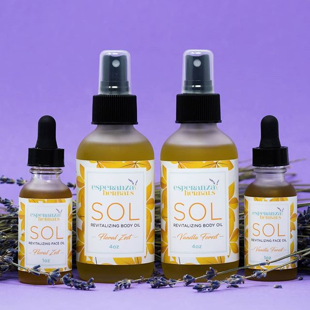 """Keep that summer glow all fall and winter long when you use our """"Sol"""" Revitalizing Face and Body Oils. Packed with antioxidants and moisturizing oils that will leave your skin looking plump and hydrated, without clogging your pores. ☀️ Stock up today while it's still available for 40% off during our CLOSEOUT SALE on ALL items. ☀️ Over the next few months I will be making significant changes to my website and offerings. Because of these updates I will be discontinuing my current product line. ☀️ Everything I have in stock MUST GO to help fund and make room for the new offerings I will be bringing to Esperanza Herbals in the next few months. ☀️ Use coupon code at checkout: CLOSEOUT2019 ☀️ www.esperanzaherbals.com/shop . . . . . . #sol #esperanzaberbals #nontoxicbeauty #nontoxicskincare #plantbased #botanical #organic #nontoxic #herbalbeauty #herbalskincare #handmade #sale #discount #Closeoutsale #naturalbeauty #naturalskincare #herbalproducts #skincareproducts #bodyoil #faceoil #selfcare #selflove #supportsmallbusiness #womanowned #blackownedbusiness #latinaowned #bostonbusiness #shoplocal"""