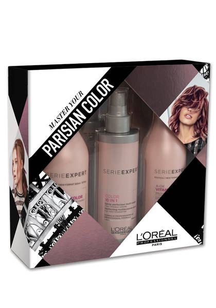 L'Oréal Serie Expert Vitamino Color A-OX Holiday Gift Set - This fabulous set from the L'Oréal Serie Expert line includes three products: a shampoo, conditioner and 10-in-1 perfecting spray. These products rank highly among hairstylists' favorite products and make a great gift for those with color-treated, damaged and highlighted hair. Filled with antioxidants and UV filters, this set aids in protecting the hair from the elements to prevent fading and lackluster locks.