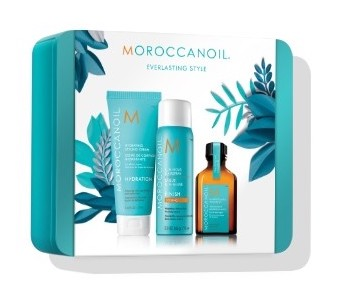 Moroccan Oil Everlasting Holiday Gift Set - This award-winning Moroccan Oil Everlasting product line focuses on hydration for dry locks. This holiday edition set includes three products, including a hydrating styling cream, a luminous hairspray and a Moroccan oil treatment.