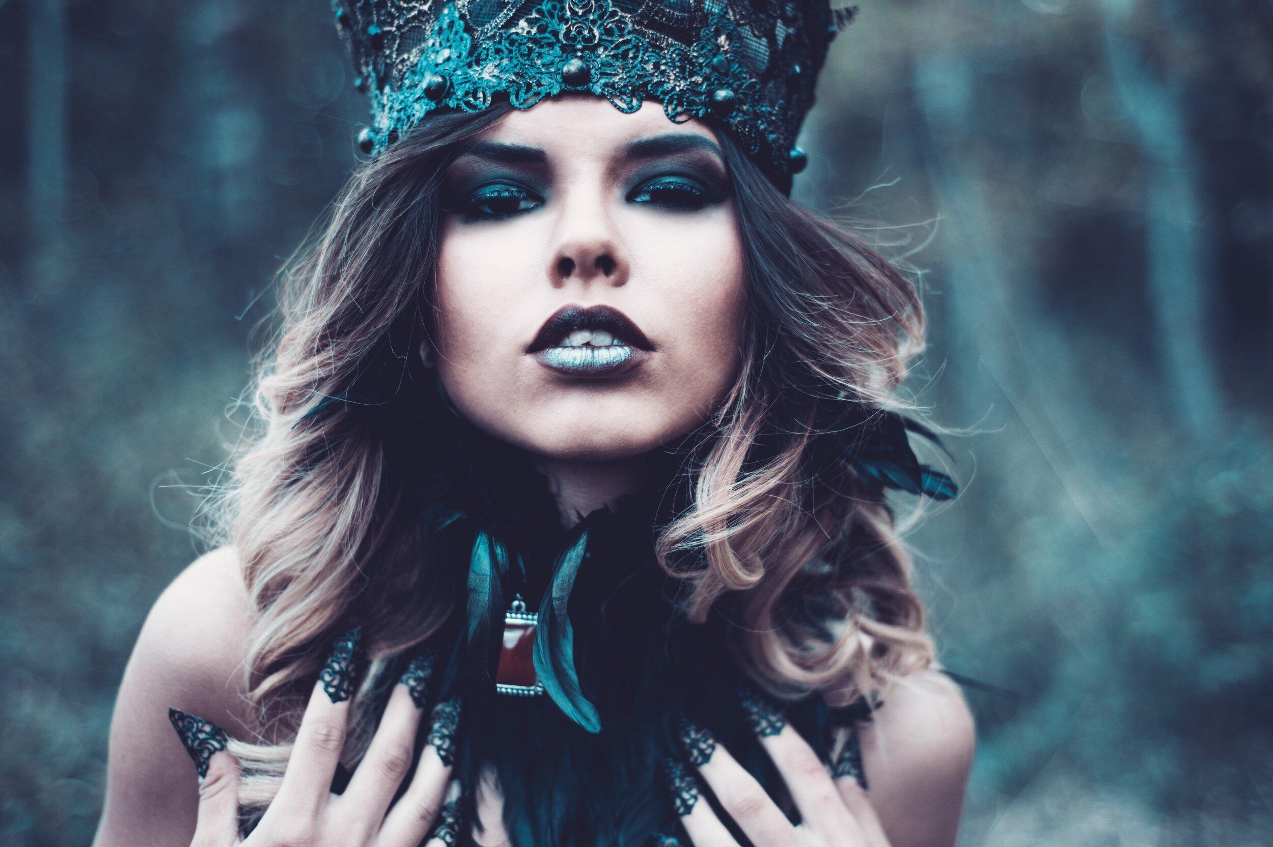 brunette close up princess forest halloween