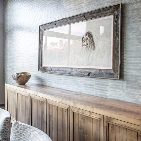 Our client from South Africa had this amazing pencil drawing that called for pride of place in the dining room. @elitisfrance  Wallcovering, custom reclaimed wood buffet.  #art #interiordesign #interiordesignideas #interiordesigner #inspiration #sideboard #customcabinet #bespoke #diningroom #lajolla #luxuryinterior #wallcovering #cabinetdesign