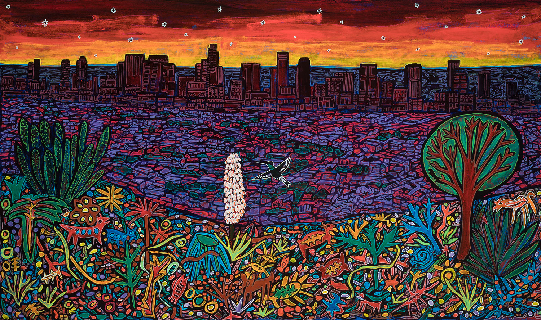 los angeles sunset, 2018, 60x36