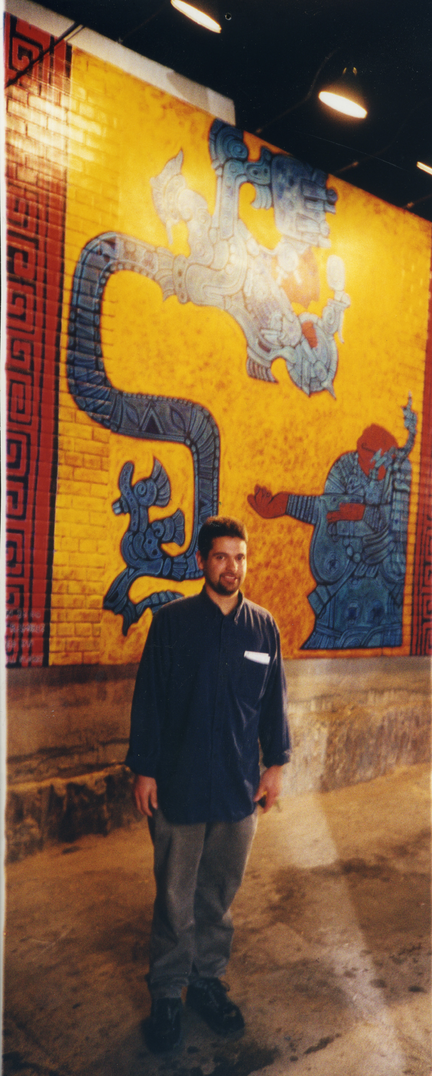 On the set in east los, with my mural Lady Xoc, painted for the set of American Family, PBS, 2001.